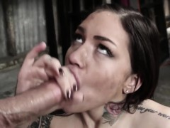 Dominated Inked Babe Deepthroats And Gags