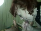 Euro Redhead jizz and woman bj in Mouth