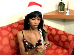 Black T girl Inserts Xmas Toy Deep Inside Her Butt Hole