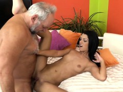 Skinny Teen Jizzed On By Seniors Hard Dick