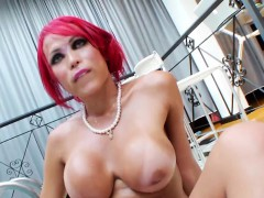 Horny Big Tits Erika Wanking Her Big Dick For You To Enjoy