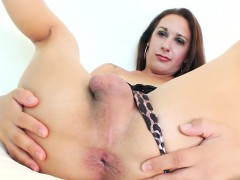 Amazing Brunette Shemale Taking On A Big Fat Dildo