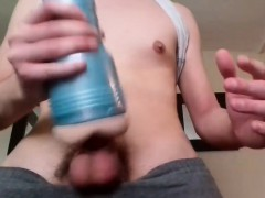 Horny Amateur Twink With Big Dick Jerking It With Fleshlight