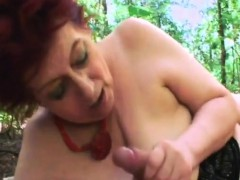 Chubby Granny Tamara Pleasing Big Dong Outdoors