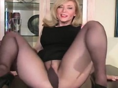 Gracious Nympho Exposes Hairy Twat In Transparent Tights
