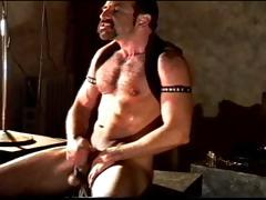 Self cbt session by hairy muscular man