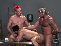 Muscle gay threesome with facial cum