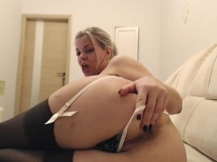Big Ass Stockings Clad Hoe Fingers Pussy In Hot Solo