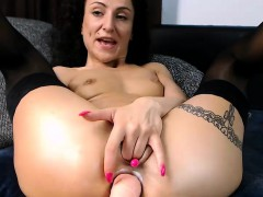 Big Ass Milf In Stockings Anal Dildoing On Webcam