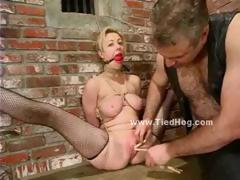 Fat Man In Leather Takes His Sex Slave Tied In Chains And