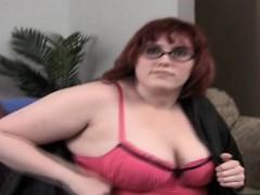 BBW With Glasses Couch Masturbation