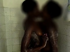 Amateur big boobed Ugandan lovers fuck in the shower. This