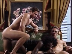 Ebony In Leather Takes Two Big White Cocks Dp