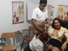 Tranny, Guy And Female Naughty Blowjob