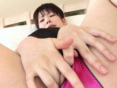 classy asian idol toys her wet muffin for the camera