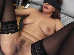 blindfolded and tied mama banged with facial