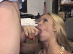 hunk drilling titty milf boss in stockings