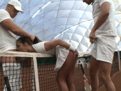 Euro Babe Assfucked In Threeway After Tennis