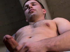 Hunky Army Man Jerking And Stroking His Long Fat Cock