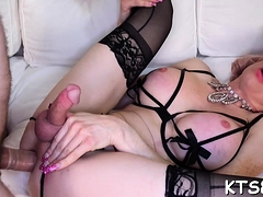 Vehement Shemale Playgirl Gets Her Holes Split By Cock