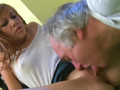 Alluring Young Hottie Rides Old Boner Of A Crazy Man