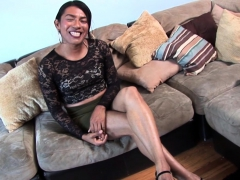 Black Casting Tranny Masturbates In Closeup