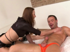 rough-bdsm-babe-jerks-restrained-subs-cock