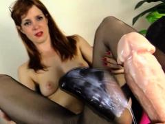 slut-in-nylons-jerk-dildo-with-her-feet