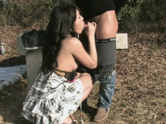 asian babe getting nailed outdoors