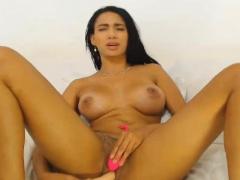 Pretty Hot Babe Masturbating Hard With A Dildo