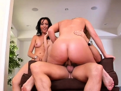Gorgeous girls share a monster cock