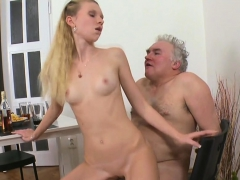 Juicy Young Playgirl Enjoys Getting Old Weenie In Pussy