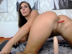 barefaced-brunette-tramp-fucking-herself-with-a-big-toy