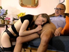 Tall European Teen Tugging Oldmans Wang