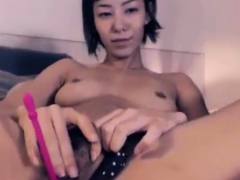 Skinny Japanese Rubs Hairy Bush With Vibrator Inside