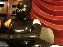 Girl In Latex Mask On Webcam