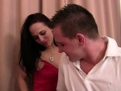 Girl In Red Lingerie Takes Brutal Throat And Pussy Banging