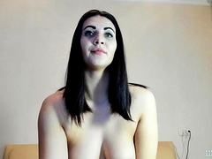 monster butt brunette busty bitch babe camgirl posing on webcam