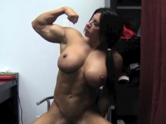 naked female bodybuilder angela salvagno rides a monster dildo