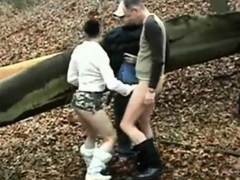 Horny Slut Fucked By 2 Older Men In Forest