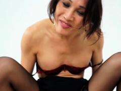 Transgender asian beauty creampied in closeup