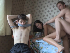 Lustful man brings a lad from the street for his girlfriend