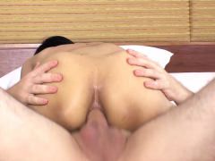 Hot cute slender Asian shemale got anal satisfied with it