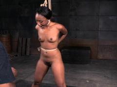 Young ebony sub restrained and punished