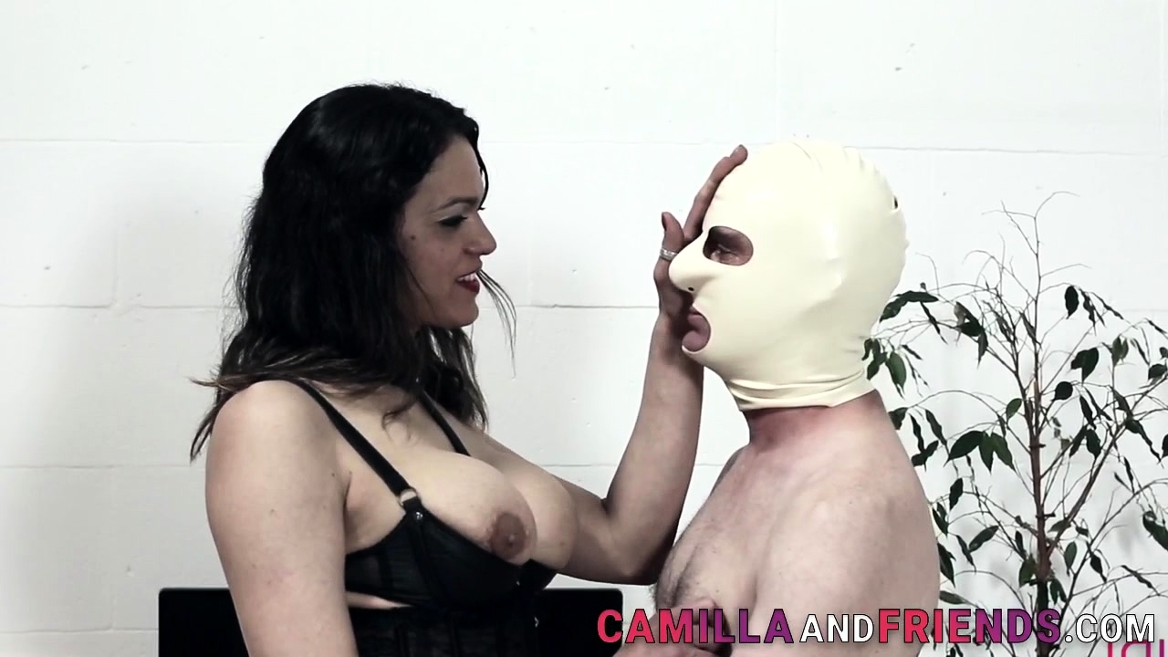 Sucked trans domina bangs and cums on gimp