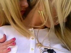 Blond Gasps As That Babe Touches Her Pretty Hairless Pussy