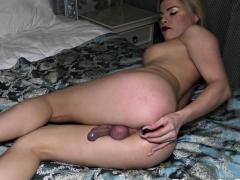 Transgender newbie filmed while masturbating