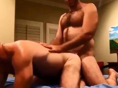 Two hairy men fucking and cumming