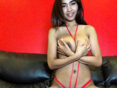 big-tits-thai-hottie-strips-red-bikini