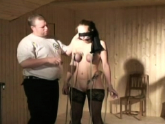 Sexual floozy costume is rubbing her sissy